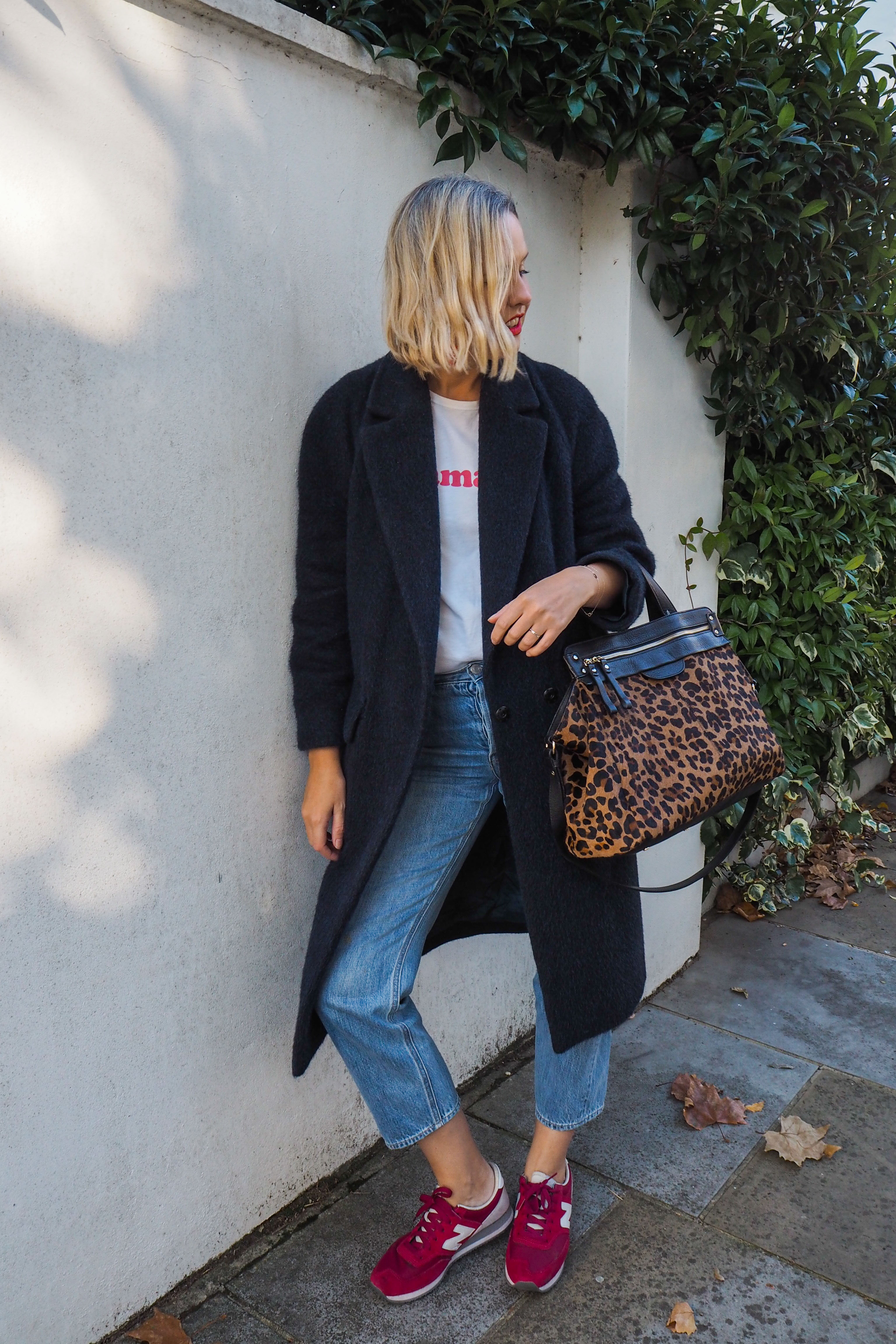 482b7220184 Coat  Whistles (old but buy similar from M S here). Tee  Sezane (old). Jeans   Gap (old). Bag  £360