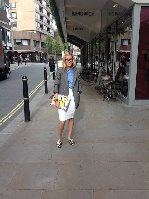 Multitasking Alexandra Stedman at LFW
