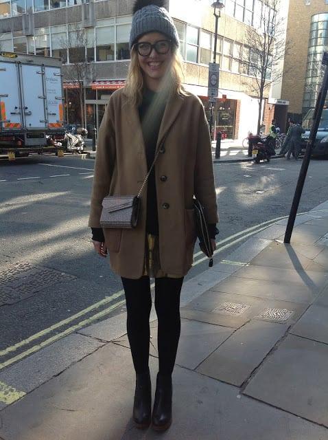 Alex stedman in camel coat