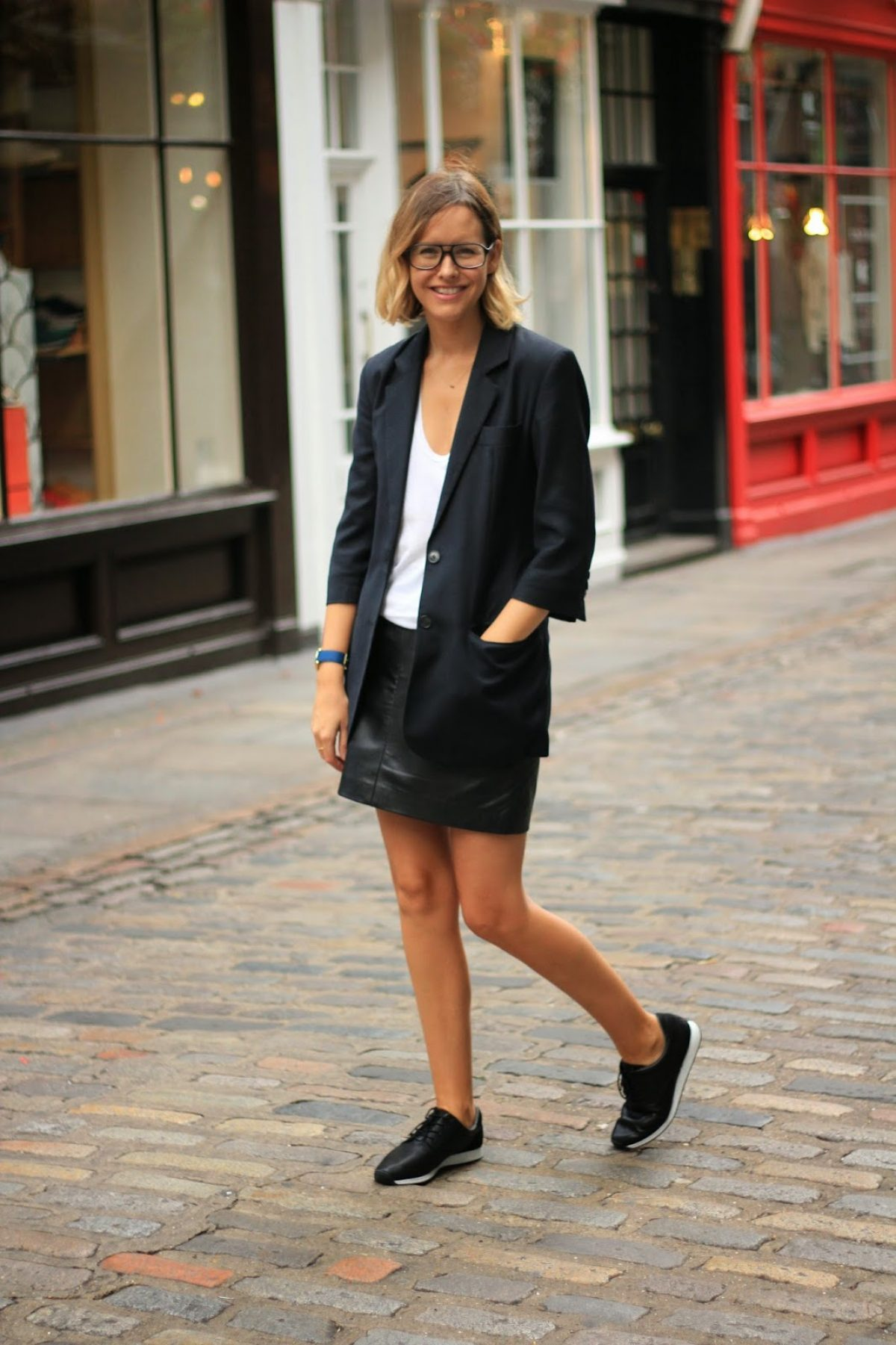 leather skirt with trainers