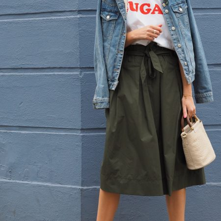 Green paper bag waist skirt