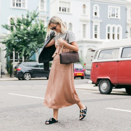 Alex Stedman wearing a slip dress