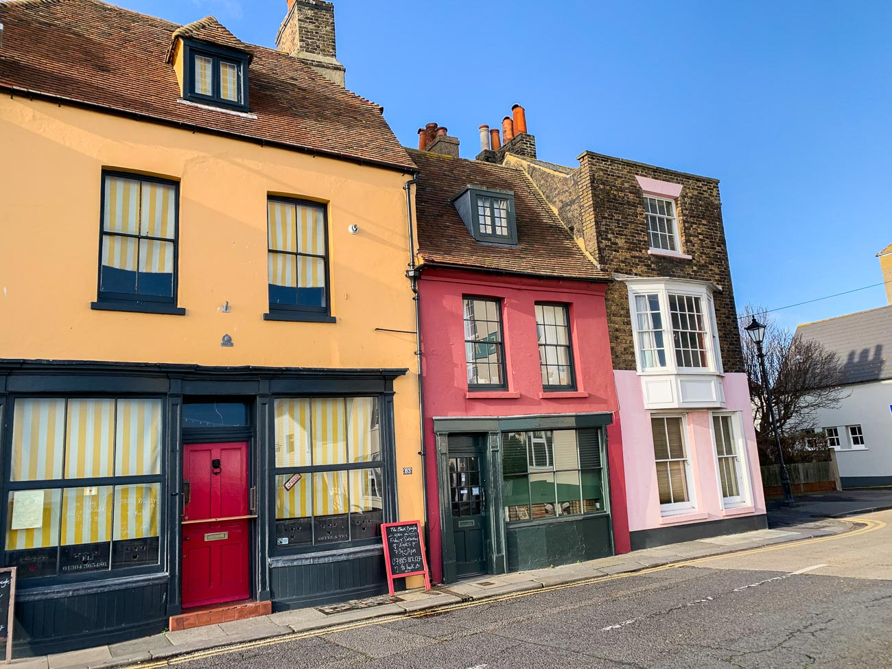 Bright coloured painted shops in Deal, Kent.