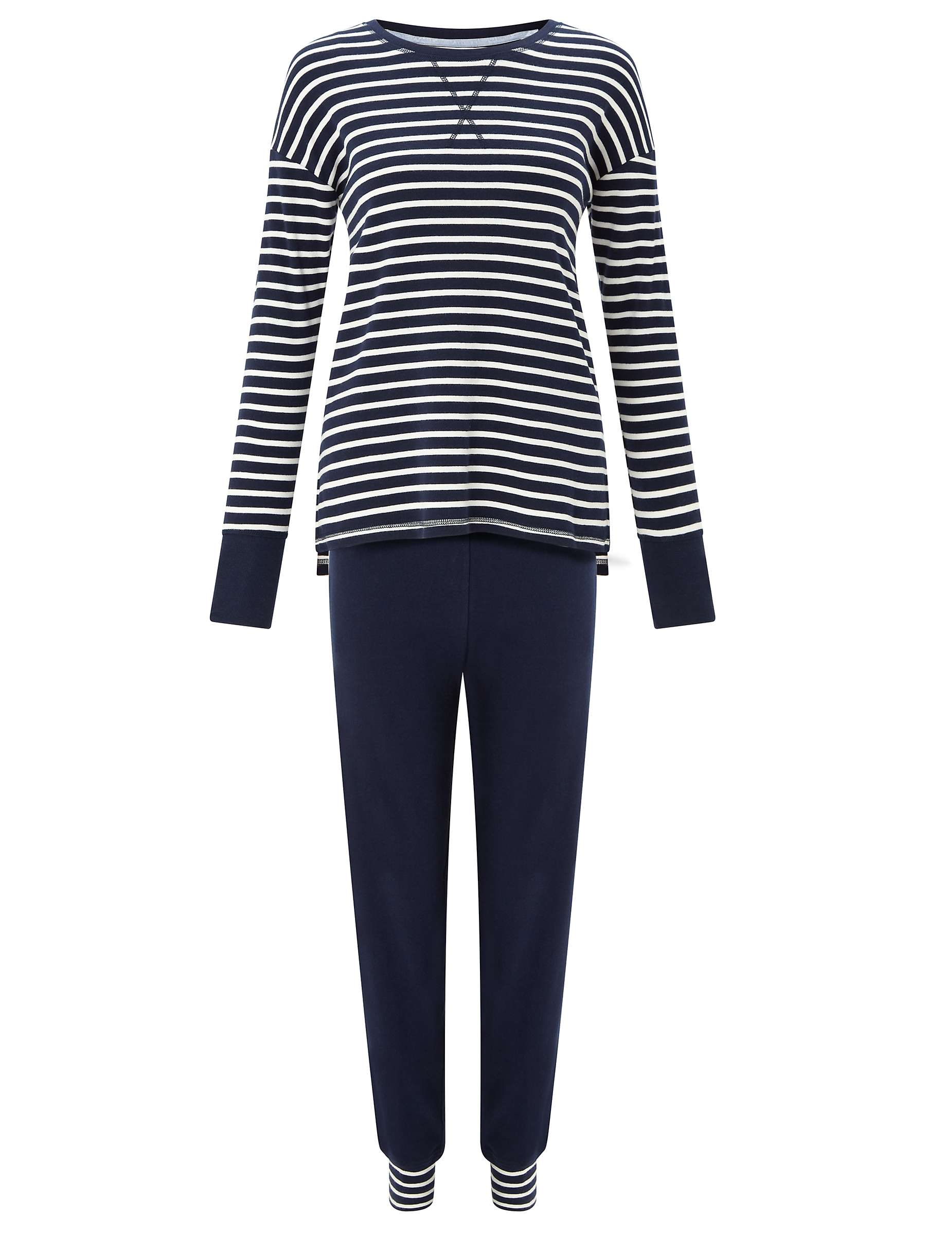 John lewis women's loungewear set, made up of a blue and white breton top and navy trousers.