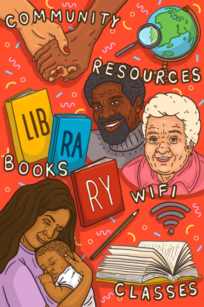 A beautifully illustrated picture by Nadia Akingbule. Showing the variety of information available at your local library and the people from the community who use it.