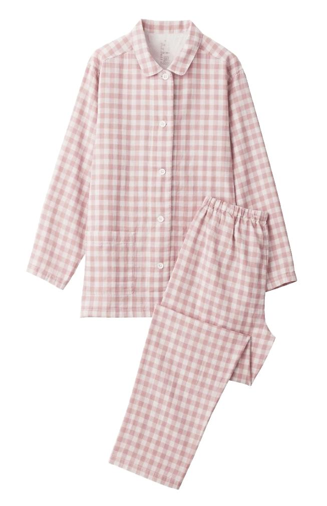 Pink and white gingham Muji pyjamas.