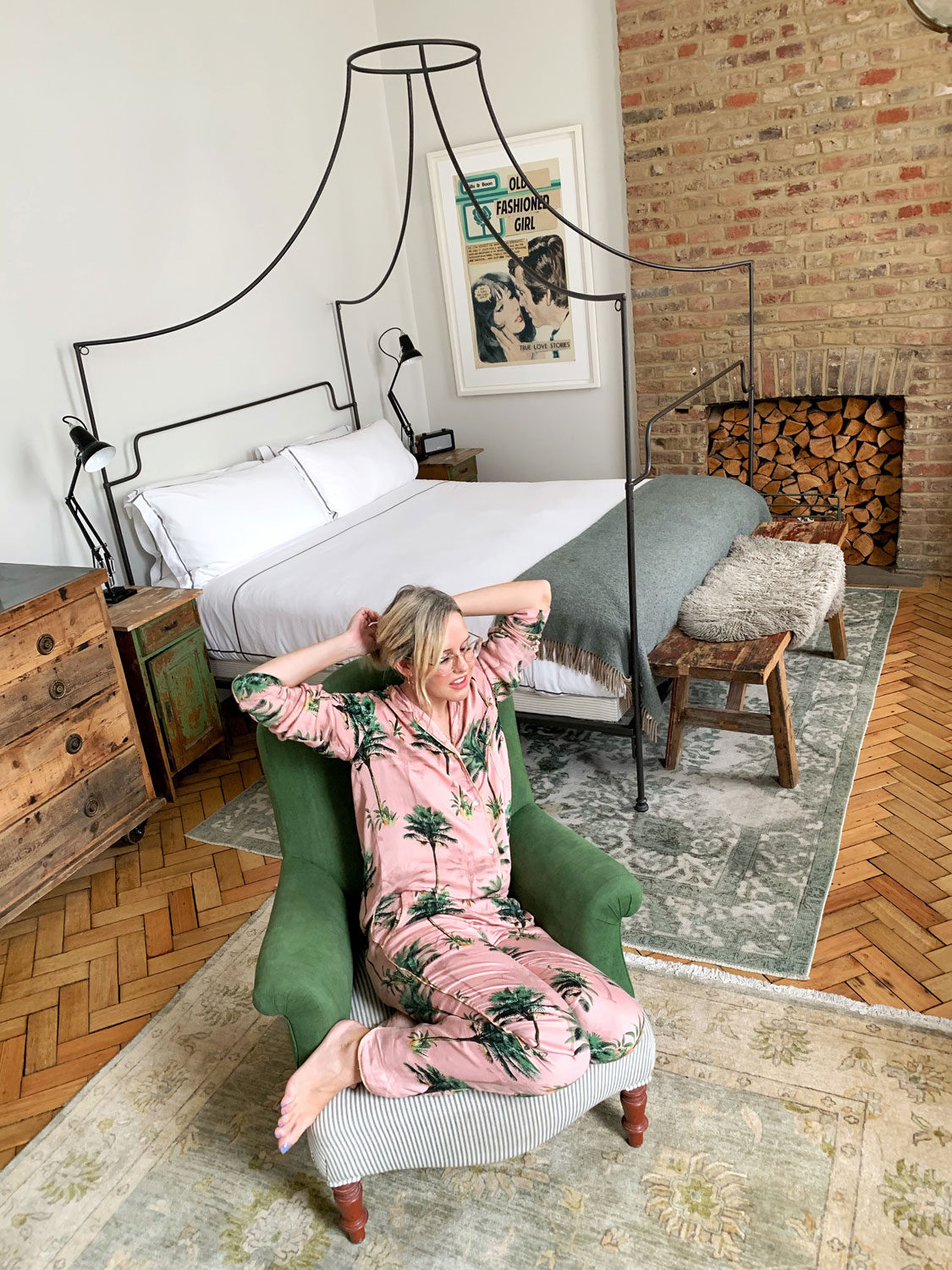 Alexandra Stedman relaxing in her Next pyjamas at The Artists Residence Pimlico.