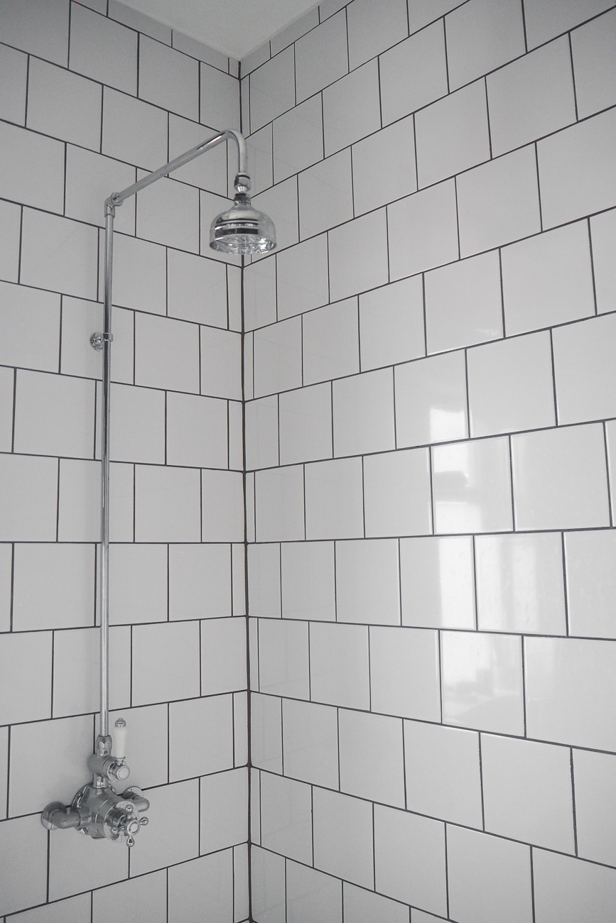 white tiles Interiors update Bathroom