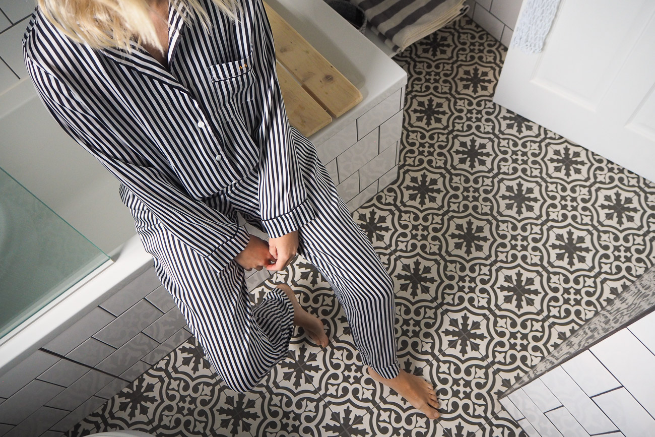 The Frugality Bathroom black and white tiles