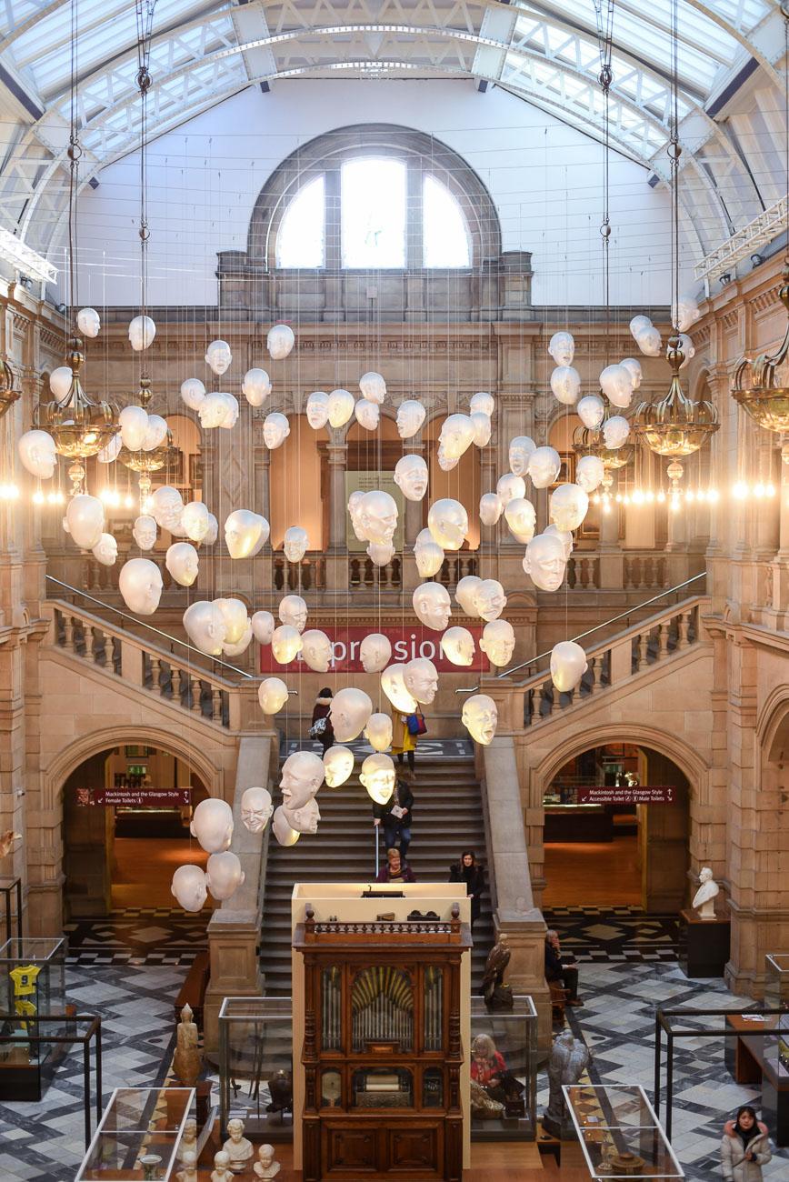The inside of the Kelvingrove Art Gallery in Glasgow.