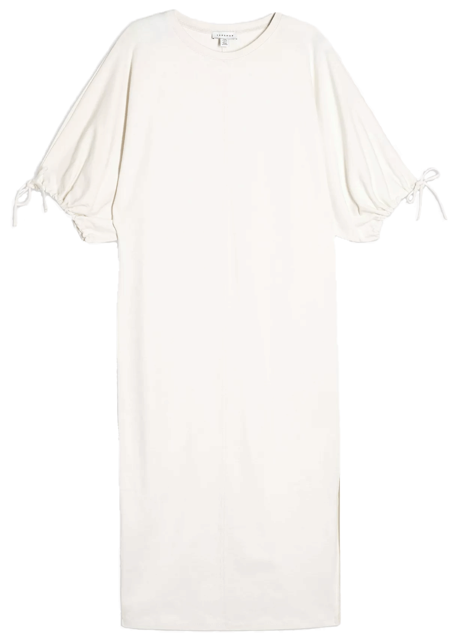 White cotton Topshop dress with are ties.
