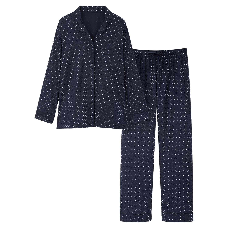 Navy Uniqlo pyjamas with white dots.