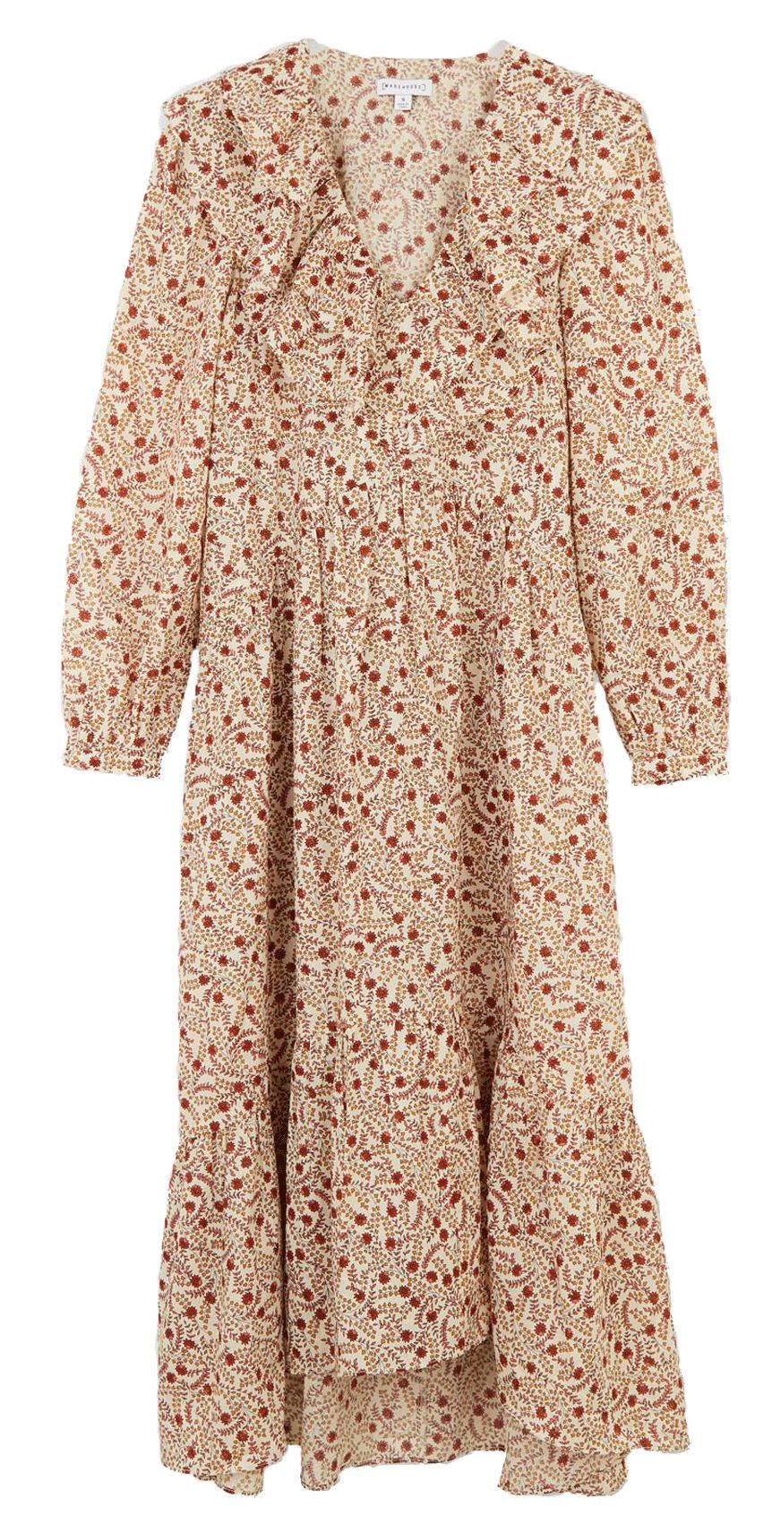 Warehouse poplin dress with frilled neck line.