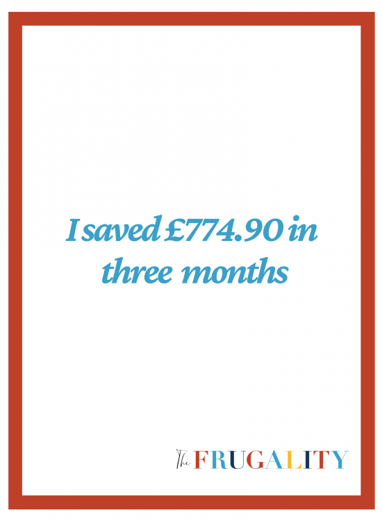 I SAVED £774.90 IN THREE MONTHS