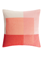 pink and beach jacquard-woven block pattern cushion